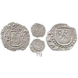 Potosi, Bolivia, cob 1/4 real, Philip II, assayer B to left, mintmark P to right (5th period), rare.