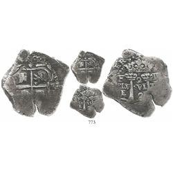Potosi, Bolivia, cob 2 reales, (1652)E transitional Type V, very rare.