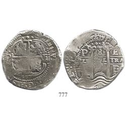Potosi, Bolivia, cob 8 reales, 1657E.