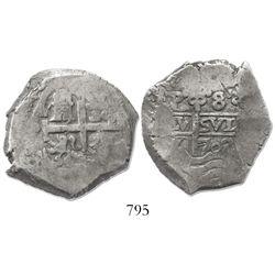 Potosi, Bolivia, cob 8 reales, 1702Y.