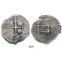 """Potosi, Bolivia, cob 8 reales, """"1718Y,"""" tooled or possible contemporary counterfeit."""
