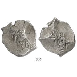 Potosi, Bolivia, cob 8 reales, 1719Y, rare.