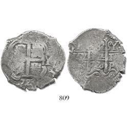 Potosi, Bolivia, cob 8 reales, 1723Y, rare (missing in Karon).