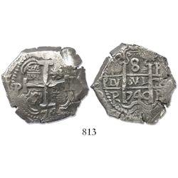 Potosi, Bolivia, cob 8 reales, 1740P.