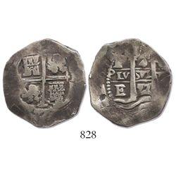 Potosi, Bolivia, cob 4 reales, 1657E, rare.