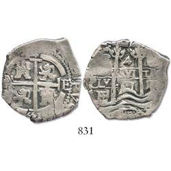Potosi, Bolivia, cob 4 reales, 1661E, rare.