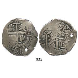 Potosi, Bolivia, cob 4 reales, 1665E.