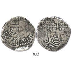 Potosi, Bolivia, cob 4 reales, 1666E.