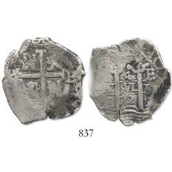 Potosi, Bolivia, cob 4 reales, 1672E, rare.
