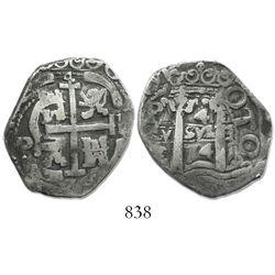 Potosi, Bolivia, cob 4 reales, 1674E, very rare.