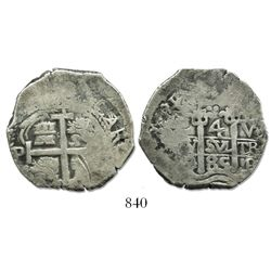 Potosi, Bolivia, cob 4 reales, 1685VR.