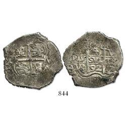 Potosi, Bolivia, cob 4 reales, 1692VR.