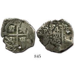 Potosi, Bolivia, cob 4 reales, 1699F, rare.