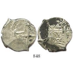 Potosi, Bolivia, cob 4 reales, 1704Y.