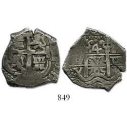 Potosi, Bolivia, cob 4 reales, 1705Y, rare.