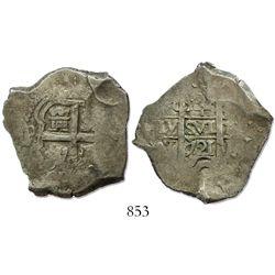Potosi, Bolivia, cob 4 reales, 1721Y, rare.
