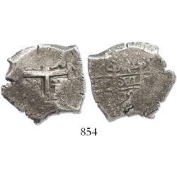 Potosi, Bolivia, cob 4 reales, 1722Y, rare.