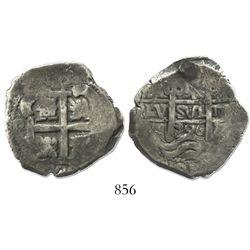Potosi, Bolivia, cob 4 reales, 1726Y, (Louis I), rare.