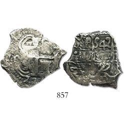 Potosi, Bolivia, cob 4 reales, 1727Y, (Louis I), rare.