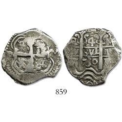 Potosi, Bolivia, cob 4 reales, 1730M, rare.