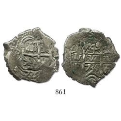 Potosi, Bolivia, cob 4 reales, 1735E, ex-Sellschopp, rare.