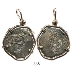 Potosi, Bolivia, cob 4 reales, 1739M, mounted pillars-side out in 14K gold necklace bezel.