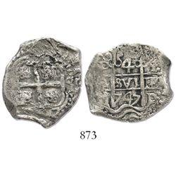 Potosi, Bolivia, cob 4 reales, 1747q, Ferdinand VI, very rare.