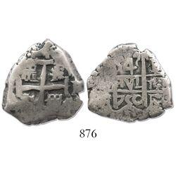 Potosi, Bolivia, cob 4 reales, 1750E/q, very rare.