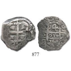 Potosi, Bolivia, cob 4 reales, 1751q/E, very rare.