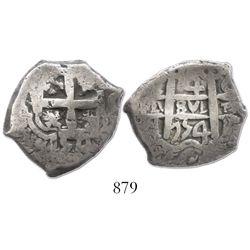 Potosi, Bolivia, cob 4 reales, 1754C+q, very rare.