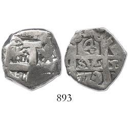 Potosi, Bolivia, cob 4 reales, 1773V-(Y), rare final date of cobs.