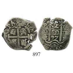 Potosi, Bolivia, cob 2 reales, 1697CH, ex-Sellschopp, rare.
