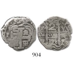 Potosi, Bolivia, cob 2 reales, 1726Y, Louis I.