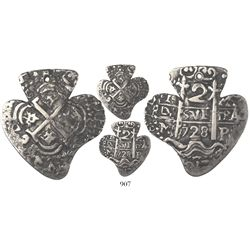 Potosi, Bolivia, cob 2 reales Heart, 1728M, very rare.