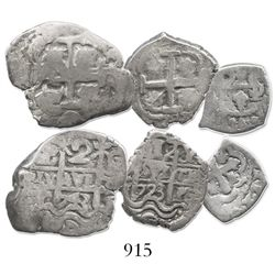Lot of 3 silver cobs (Potosi 2R 1743C, Potosi 1R 1723Y and Mexico 1/2R Philip V assayer not visible)