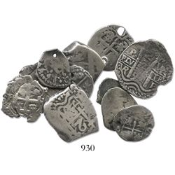 Lot of 11 Potosi, Bolivia, silver-cob minors (four 2R, three 1R, four 1/2R), various periods (Philip