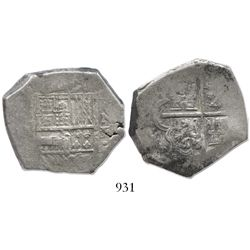 Cartagena, Colombia, cob 8 reales, Philip IV, assayer E, mintmark RN to right (1620s-1630), rare.