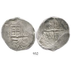 Bogota, Colombia, cob 8 reales, Philip IV, assayer not visible, mintmark .N.R to left (1630s-40s), r