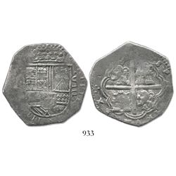 Bogota, Colombia, cob 8 reales, Philip IV, assayer not visible (1630s-40s), lions and castles transp