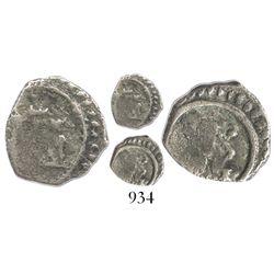 Bogota, Colombia, cob 1/4 real, Philip IV, (1652-4), rare.