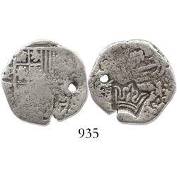 "Guatemala, 2 reales, ""crown"" countermark (1662) on a Potosi, Bolivia, cob 2 reales of Philip IV, ass"