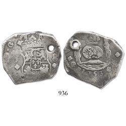 Guatemala, cob 8 reales, 1753J, final year of type.