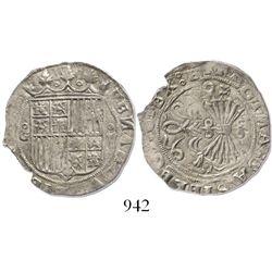 Granada, Spain, 2 reales, Ferdinand-Isabel, assayer R (Gothic) to left of arrows.