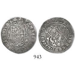 Granada, Spain, 1 real, Ferdinand-Isabel, cross-topped globes flanking shield.