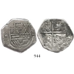 Seville, Spain, cob 8 reales, Philip IV, assayer R to left.