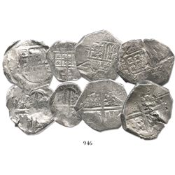 Lot of 4 cobs (three 8R and one 4R), Philip IV, assayers not visible, with small chopmarks and test-