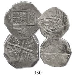 Lot of 2 Toledo, Spain, silver cobs of Philip III-IV (4R assayer P, and 2R assayer C).