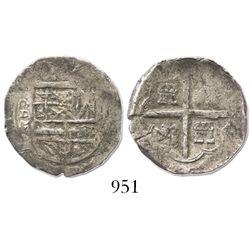 Segovia, Spain, cob 2 reales, Philip II, assayer oD, rare.