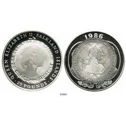 Argentina, silver medal, made from a Falkland Islands 25 pounds, Elizabeth II, 1986, overstruck in c
