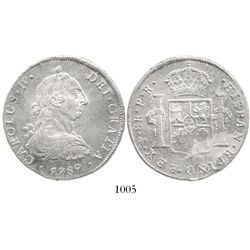Potosi, Bolivia, bust 8 reales, Charles IV transitional (bust of Charles III, ordinal IV), 1789PR.